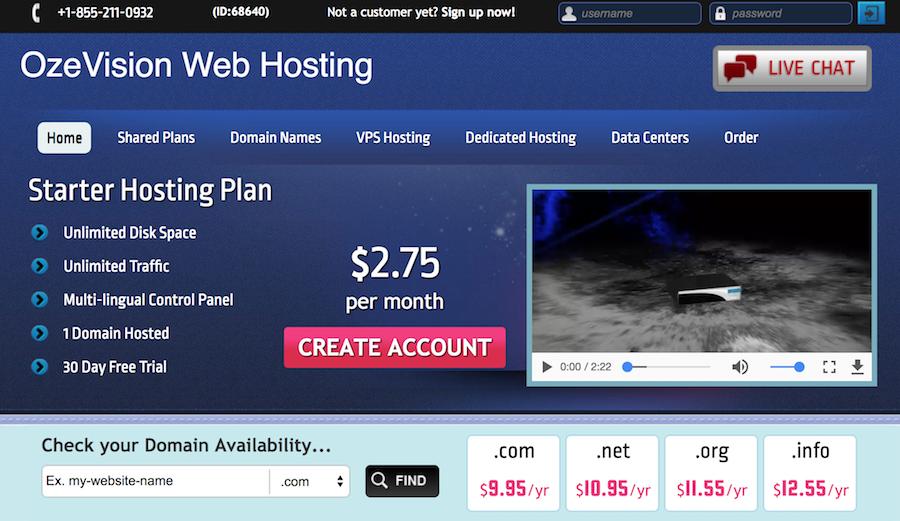 Oze Vision Web Hosting